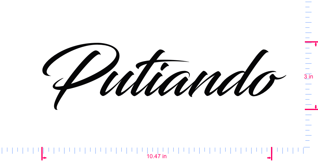Text Putiando Vinyl custom lettering decal/3 x 10.47 in/ Black /