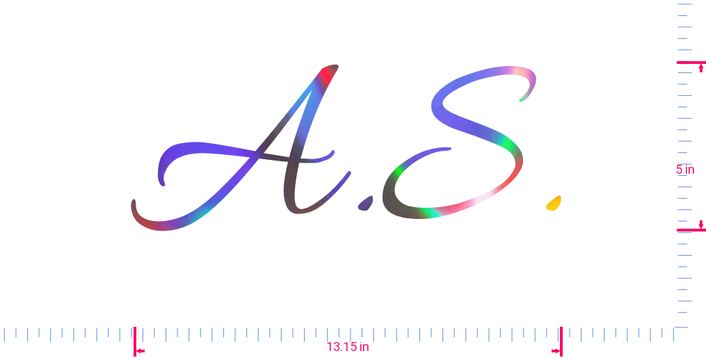 Text A.S. Vinyl custom lettering decall/5 x 13.15 in/ OilSlick Chrome /