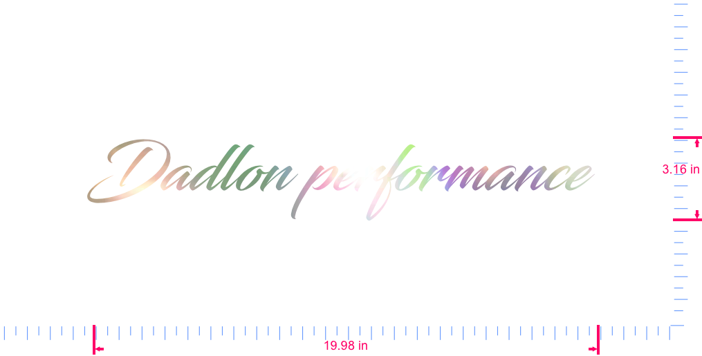 Text Dadlon performance  Vinyl custom lettering decal/3.16 x 19.98 in/ OilSlick Chrome /