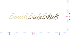 Text SouthSideSkids  Vinyl custom lettering decall/4.04 x 29.96 in/ Gold Chrome /