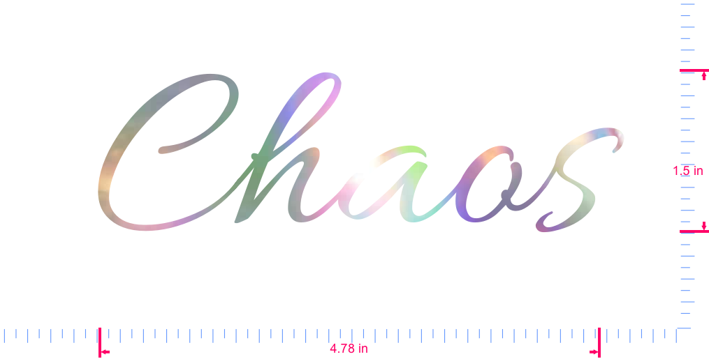 Text Chaos Vinyl custom lettering decal/1.5 x 4.78 in/ OilSlick Chrome /