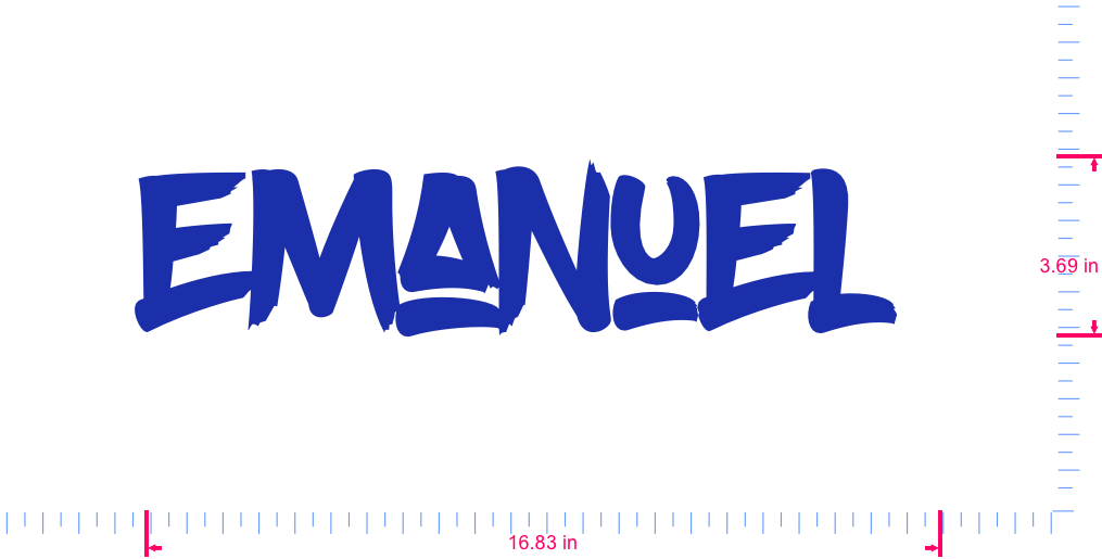 Text Emanuel  Vinyl custom lettering decal/3.69 x 16.83 in/ Brilliant Blue /