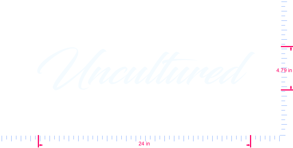 Text Uncultured  Vinyl custom lettering decal/4.79 x 24 in/ White /