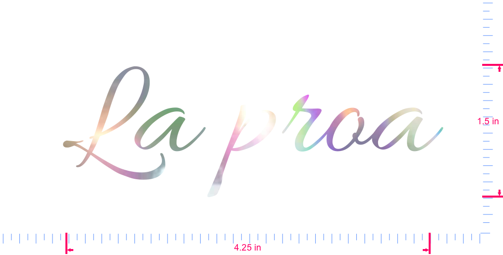 Text La proa Vinyl custom lettering decal/1.5 x 4.25 in/ OilSlick Chrome /