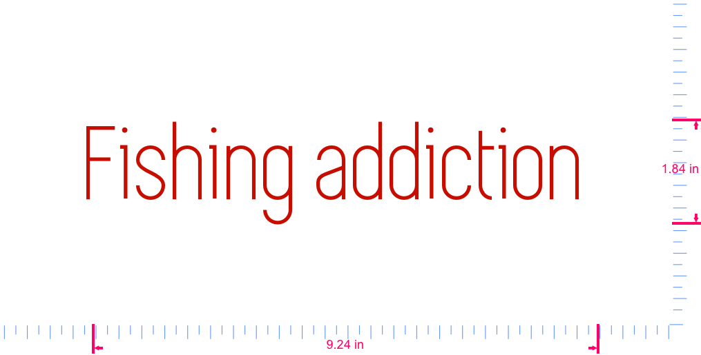 Text Fishing addiction  Vinyl custom lettering decal/1.84 x 9.24 in/ Red /