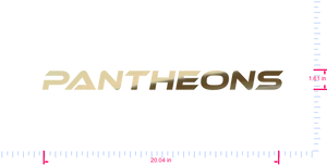 Text Pantheons Vinyl custom lettering decal/1.61 x 20.04 in/ Gold Chrome /