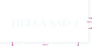 Text HELLA SAD :( Vinyl custom lettering decall/3.96 x 25.5 in/ White /