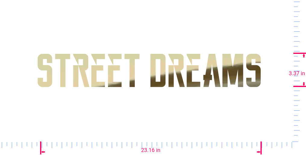 Text Street Dreams Vinyl custom lettering decall/3.37 x 23.16 in/ Gold Chrome /