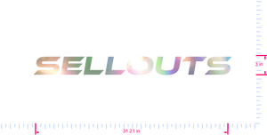 Text sellouts Vinyl custom lettering decal/3 x 31.21 in/ OilSlick Chrome /