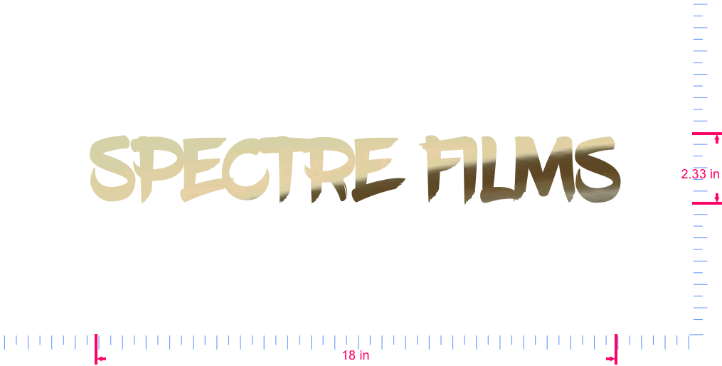 Text Spectre films Vinyl custom lettering decall/2.33 x 18 in/ Gold Chrome /