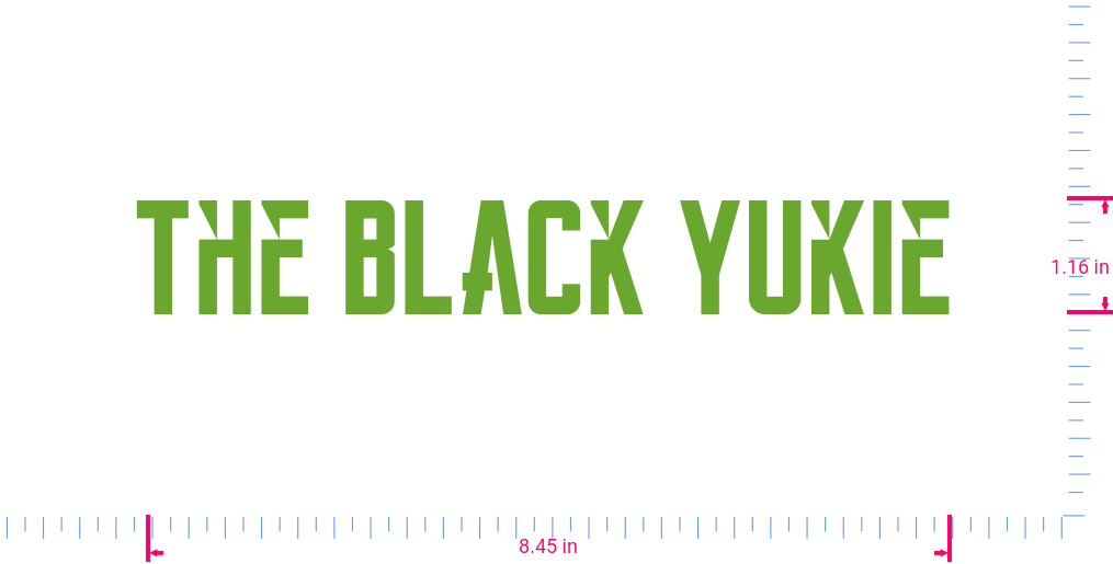 Text The Black Yukie Vinyl custom lettering decall/1.16 x 8.45 in/ Lime-tree Green /