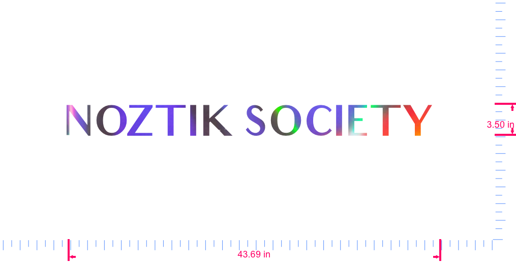 Text NOZTIK SOCIETY  Vinyl custom lettering decall/3.50 x 43.69 in/ OilSlick Chrome /
