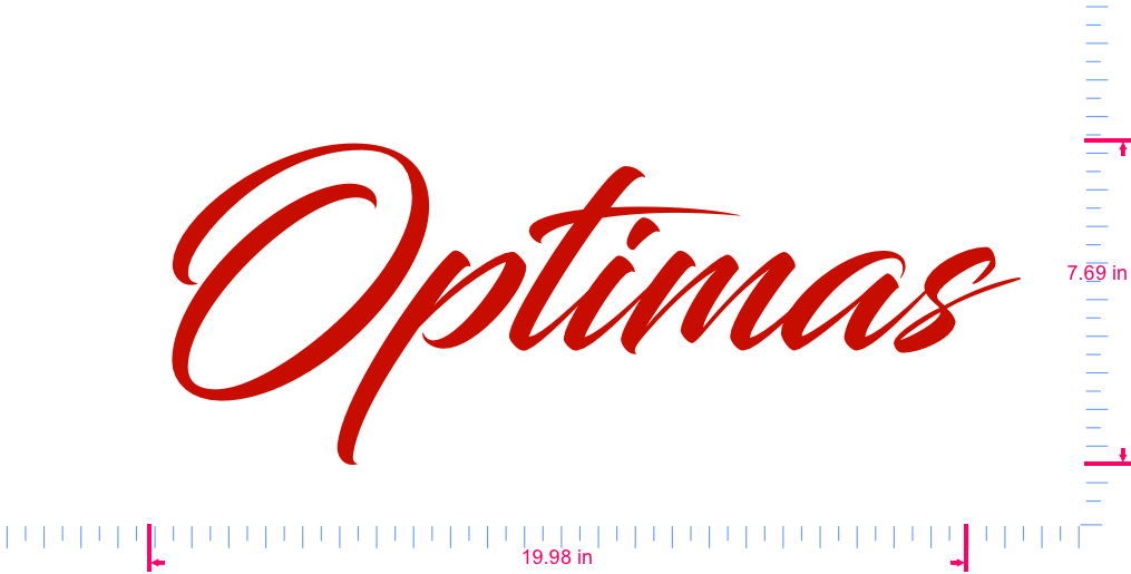 Text Optimas Vinyl custom lettering decal/7.69 x 19.98 in/ Red /
