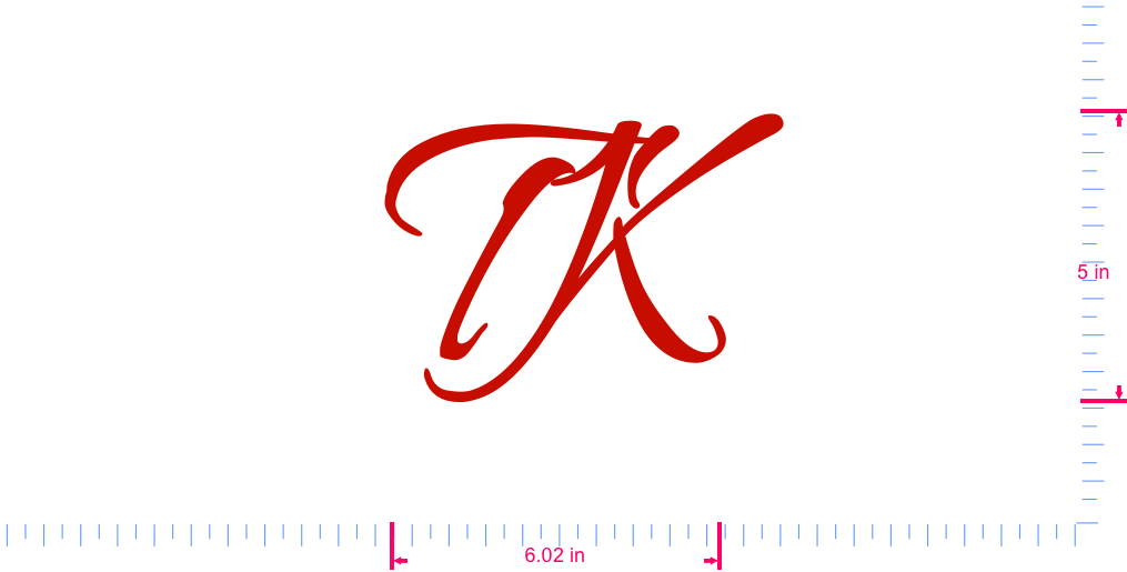 Text TK Vinyl custom lettering decall/5 x 6.02 in/ Red /