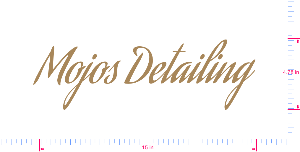 Text Mojos Detailing  Vinyl custom lettering decal/4.78 x 15 in/ Light Brown /