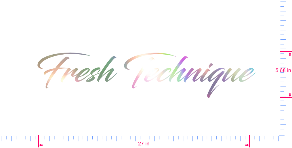 Text Fresh Technique Vinyl custom lettering decal/5.68 x 27 in/ OilSlick Chrome /