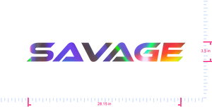 Text Savage Vinyl custom lettering decall/3.5 x 28.15 in/ OilSlick Chrome /