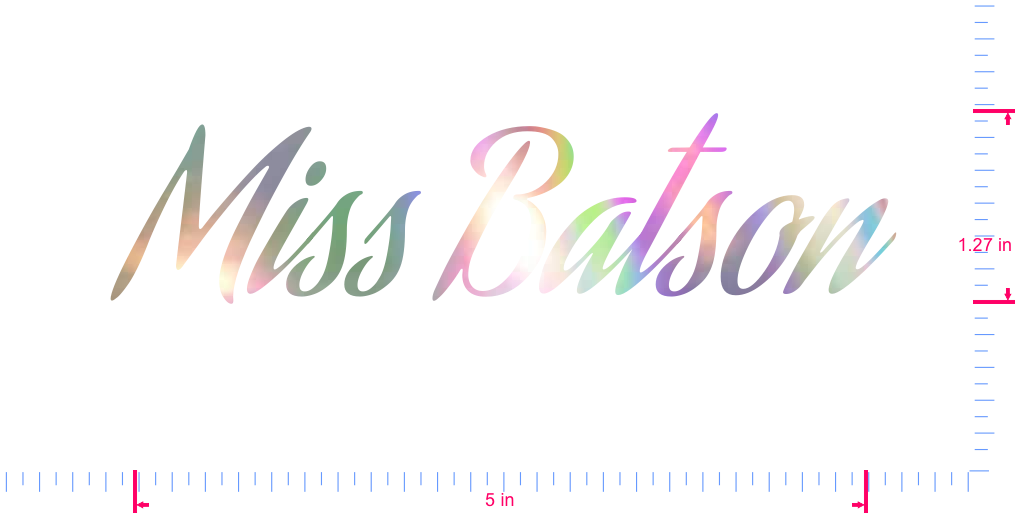 Text Miss Batson Vinyl custom lettering decal/1.27 x 5 in/ OilSlick Chrome /