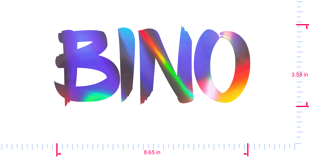 Text BINO Vinyl custom lettering decall/3.58 x 8.65 in/ OilSlick Chrome /