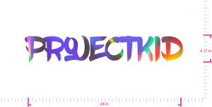 Text ProjectKid Vinyl custom lettering decall/4.11 x 24 in/ OilSlick Chrome /