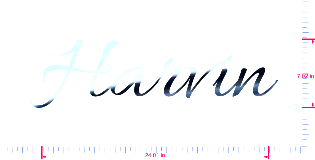 Text Harvin Vinyl custom lettering decall/7.02 x 24.01 in/ Mirror Chrome /
