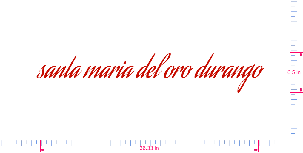 Text santa maria del oro durango Vinyl custom lettering decal/6.5 x 36.33 in/ Red /