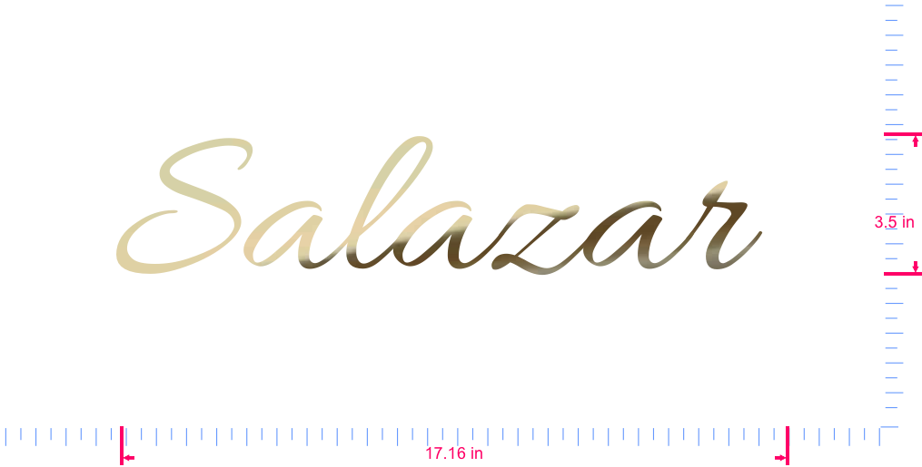 Text Salazar  Vinyl custom lettering decall/3.5 x 17.16 in/ Gold Chrome /