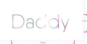 Text Daddy  Vinyl custom lettering decal/4.17 x 15.33 in/ OilSlick Chrome /
