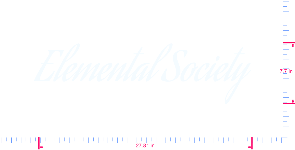 Text Elemental Society  Vinyl custom lettering decall/7.7 x 27.81 in/ White /