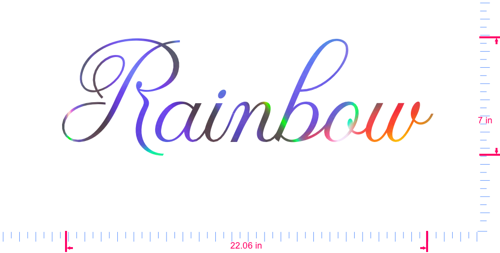 Text Rainbow Vinyl custom lettering decall/7 x 22.06 in/ OilSlick Chrome /