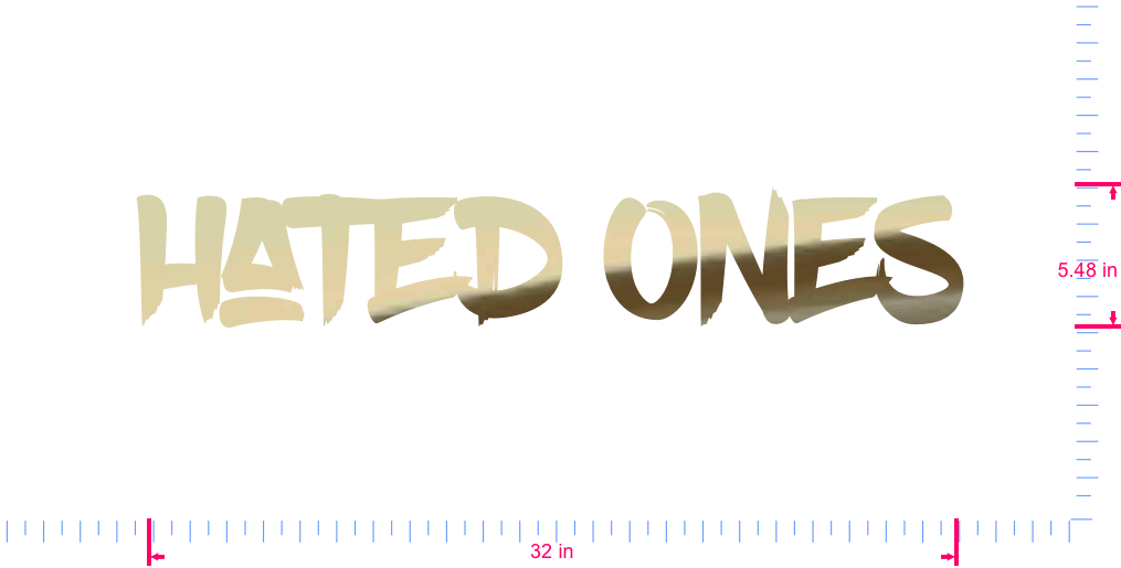 Text Hated Ones Vinyl custom lettering decal/5.48 x 32 in/ Gold Chrome /