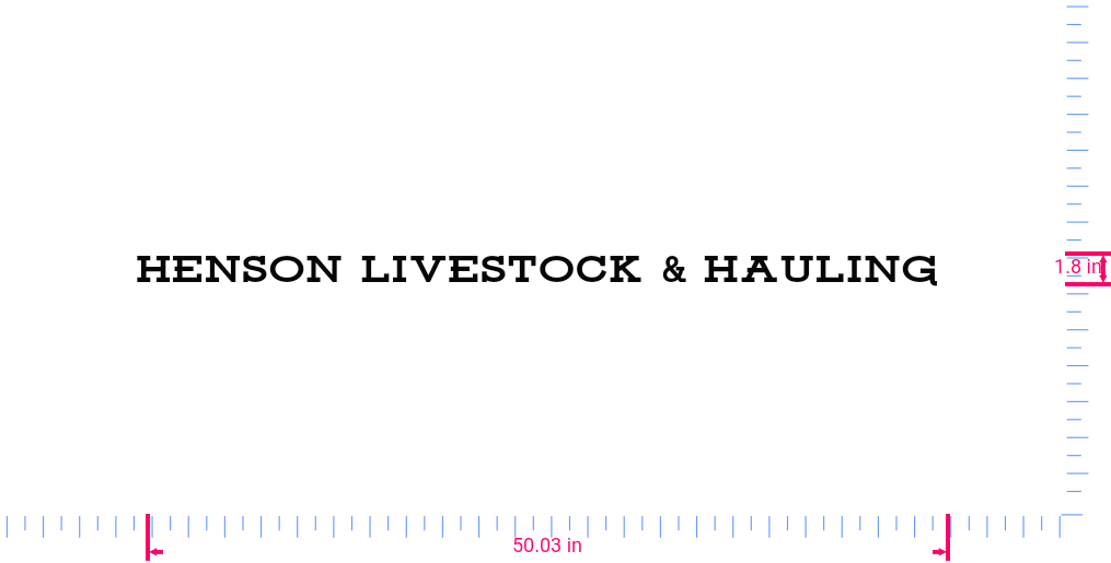 Text Henson livestock & hauling  Vinyl custom lettering decal/1.8 x 50.03 in/ Black /