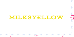 Text MiLkSYelloW Vinyl custom lettering decal/0.58 x 8.35 in/ Yellow /