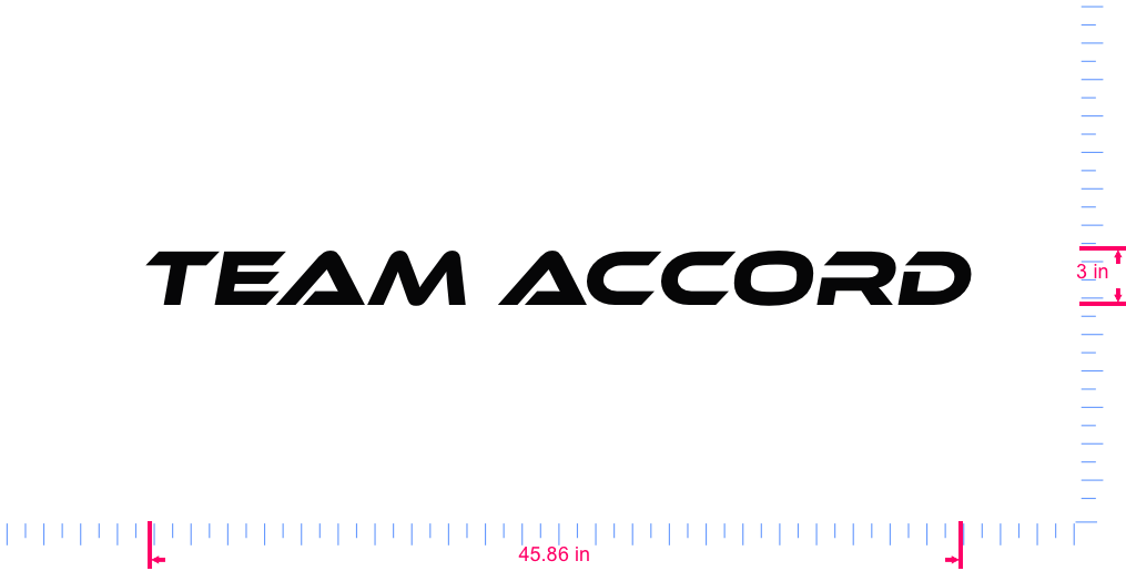 Text Team accord Vinyl custom lettering decall/3 x 45.86 in/ Black /