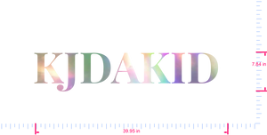 Text KJDAKID  Vinyl custom lettering decal/7.84 x 39.95 in/ OilSlick Chrome /