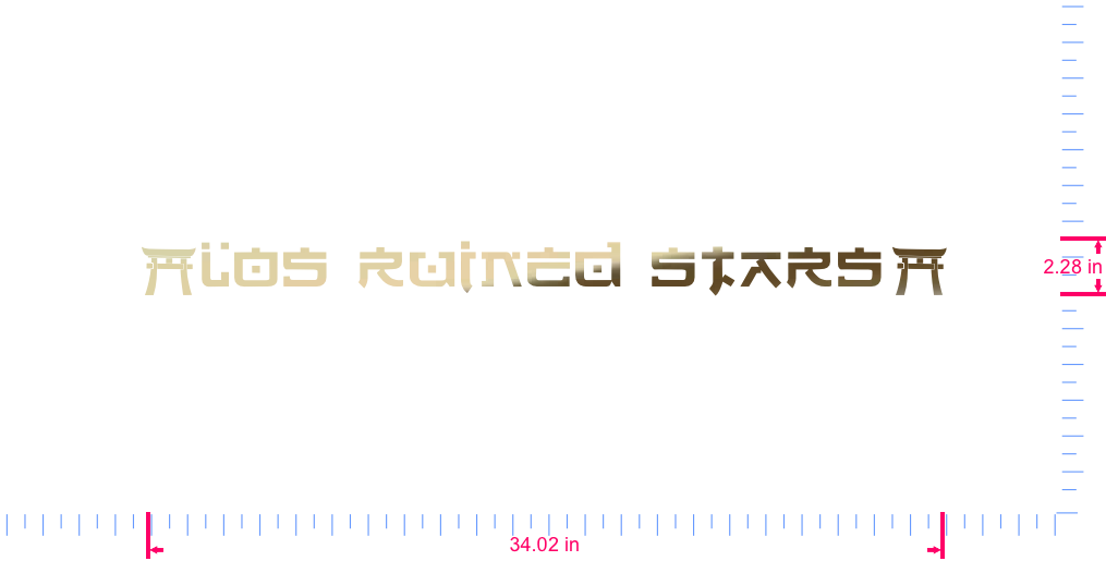 Text |Los Ruined Stars| Vinyl custom lettering decal/2.28 x 34.02 in/ Gold Chrome /
