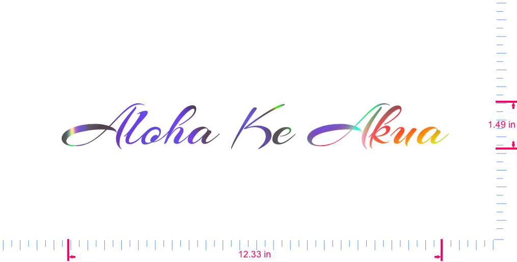 Text Aloha Ke Akua Vinyl custom lettering decall/1.49 x 12.33 in/ OilSlick Chrome /