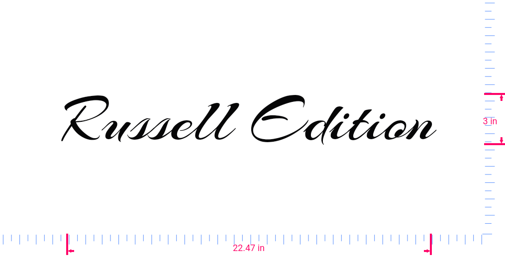 Text Russell Edition Vinyl custom lettering decal/3 x 22.47 in/ Black /