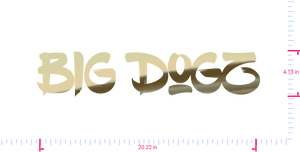 Text Big Dogz Vinyl custom lettering decall/4.13 x 20.22 in/ Gold Chrome /