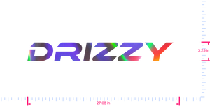 Text Drizzy  Vinyl custom lettering decall/3.25 x 27.08 in/ OilSlick Chrome /