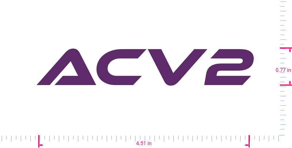Text Acv2 Vinyl custom lettering decal/0.77 x 4.51 in/ Violet /