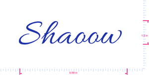 Text Shaoow  Vinyl custom lettering decall/1.5 x 6.98 in/ Brilliant Blue /