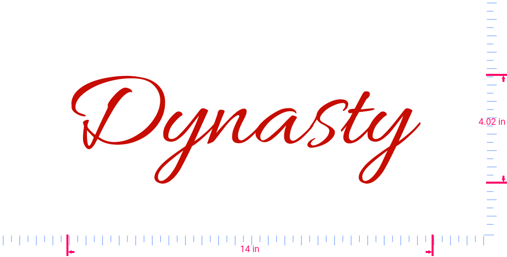 Text Dynasty  Vinyl custom lettering decal/4.02 x 14 in/ Red /