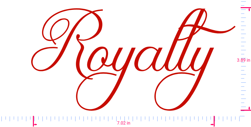 Text Royalty Vinyl custom lettering decal/3.89 x 7.02 in/ Red /