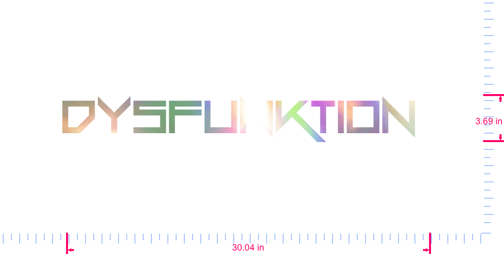 Text DYSFUNKTION  Vinyl custom lettering decal/3.69 x 30.04 in/ OilSlick Chrome /