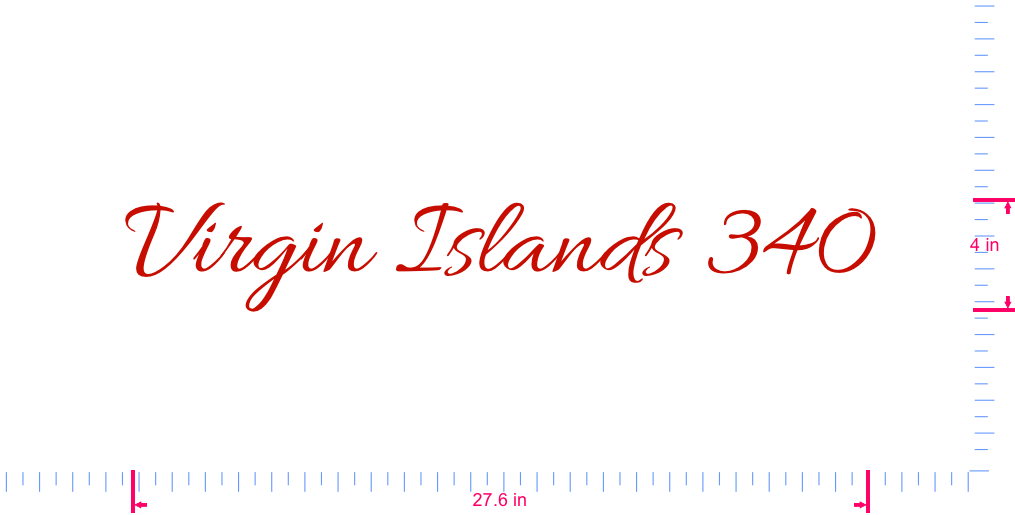 Text Virgin Islands 340 Vinyl custom lettering decall/4 x 27.6 in/ Red /