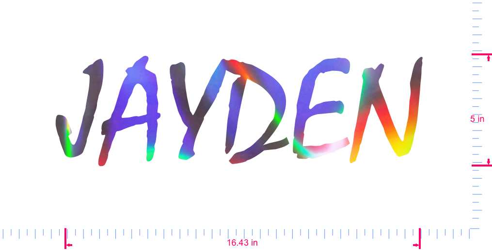 Text JAYDEN Vinyl custom lettering decall/5 x 16.43 in/ OilSlick Chrome /
