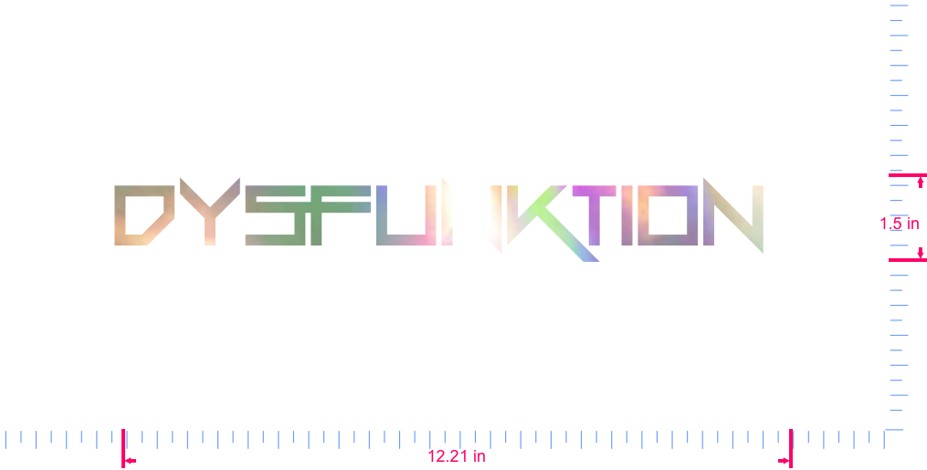 Text Dysfunktion  Vinyl custom lettering decal/1.5 x 12.21 in/ OilSlick Chrome /