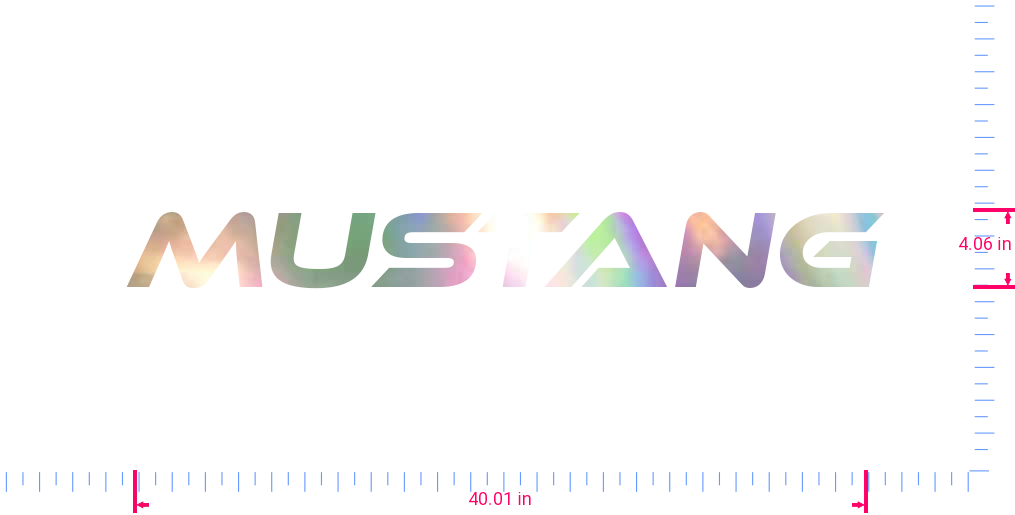 Text Mustang Vinyl custom lettering decal/4.06 x 40.01 in/ OilSlick Chrome /