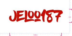 Text Jeloo187 Vinyl custom lettering decal/2 x 7.87 in/ Red /